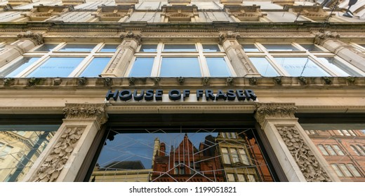 Cardiff, Wales - Aug 27, 2018: House of Fraser logo across old decorative building, low angle horizontal photography