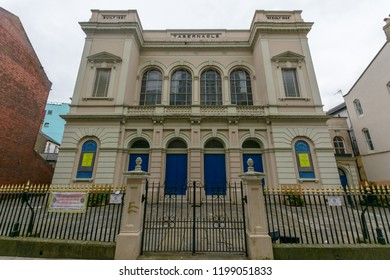 Cardiff, Wales - Aug 27, 2018: Facade of Tabernacle Welsh Baptist Church, horizontal photography