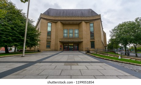 Cardiff, Wales - Aug 27, 2018: Cardiff Magistrates Courts, horizontal photography