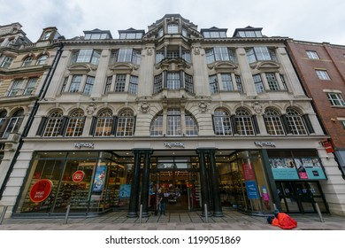Cardiff, Wales - Aug 27, 2018: Facade of TK Maxx Cardiff, 10 The Hayes, horizontal photography