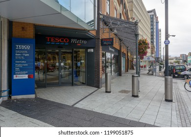 Cardiff, Wales - Aug 27, 2018: Entrance to Tesco Metro on Churchill Way Cardiff, horizontal photography