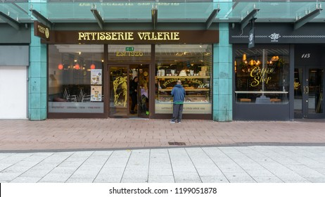 Cardiff, Wales - Aug 27, 2018: Patisserie Valerie on Queen Street Cardiff, Long-standing chain patisserie serving coffee, light meals and cakes, horizontal photography