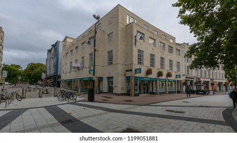 Cardiff, Wales - Aug 27, 2018: Poundland Shop Cardiff, Windsor Place and Queen Street corner building, Discount retail chain, horizontal photography