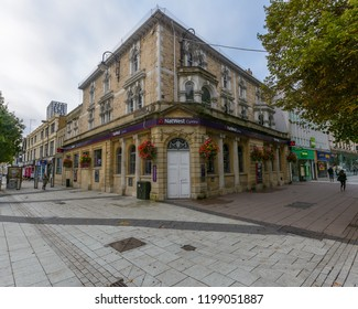 Cardiff, Wales - Aug 27, 2018: NatWest corner building, corner of Queen Street and Churchill Way Cardiff, horizontal photography
