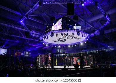 CARDIFF WALES:  December 8, 2018 Cage Warriors 100. Unknown fighters being introduced to the audience with a general view of the Viola Arena in Cardiff Wales. (Photo by Huw Fairclough