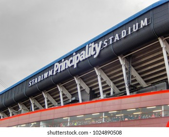 Cardiff, Wales - February 2018: Wide angle view of the exterior of the Principality Stadium, formerly the Millennium Stadium