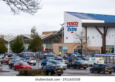 Cardiff, Wales - February 3rd 2021: General view of Tesco Extra on Western Avenue, Cardiff, Wales, as shoppers descend on the store to purchase essential items, during Wales' lockdown measures.