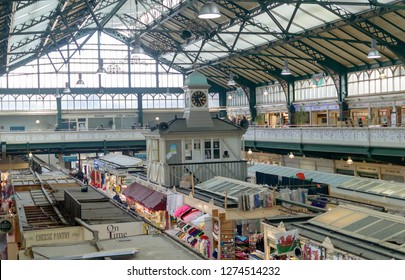 Cardiff, Wales - Jan 2, 2019: Indoor of Cardiff Central Market B, Victorian shopping mall on 2 levels, shallow depth of field