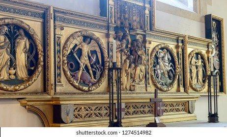 Cardiff, Wales - Jan 2, 2019: Altar and reredos in St John The Baptist Church, memorial to Lord Kitchener