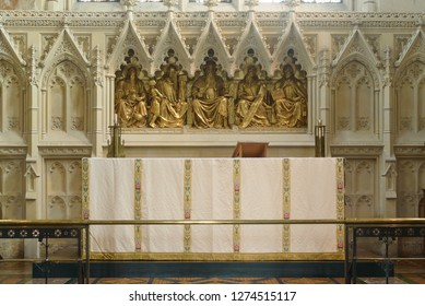 Cardiff, Wales - Jan 2, 2019: High Altar in St John The Baptist Church
