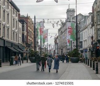 Cardiff, Wales - Jan 2, 2019: Looking down High Street in Capital of Welsh, shallow depth of field horizontal photography
