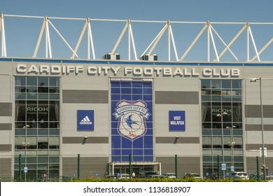 CARDIFF, WALES - JULY 2018: Exterior of the front and entrance of the Cardiff City Football Club stadium in Leckwith on the outskirts of Cardiff. The club was promoted to the Premier League in 201