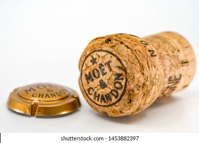 CARDIFF, WALES - JULY 2019: Close up of the cork and metal cap from a bottle of Moet & Chandon champagne..