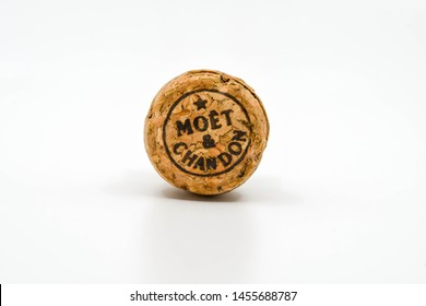 CARDIFF, WALES - JULY 2019: Close up of the top of a cork from a bottle of Moet & Chandon champagne..