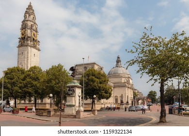 Cardiff, Wales - July 27 2018: Cardiff Old Town with monumental buildings