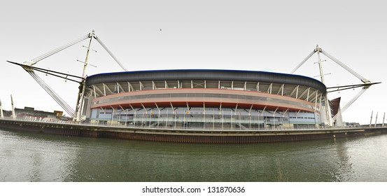 CARDIFF, WALES - MARCH 2: the exterior of the Millennium Stadium on March 2, 2013 in Cardiff, Wales. The Millennium Stadium has the largest capacity of any stadium in Wales with 74,500 seats.