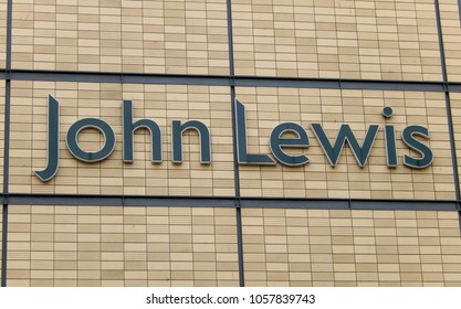 Cardiff, Wales - March 2018: Large sign the exterior wall of the John Lewis department store