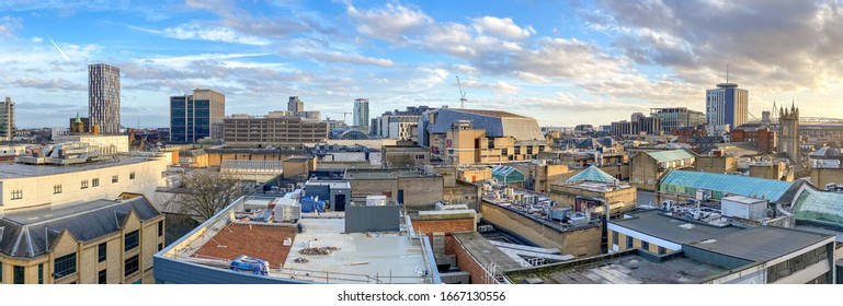 CARDIFF, WALES - MARCH 2020: Roof top view of Cardiff city centre