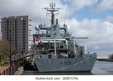 CARDIFF, WALES - MARCH 23 : HMS Enterprise docked at Cardiff Bay on March 23, 2014