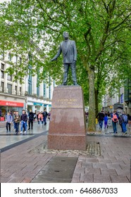 Cardiff, Wales - May 20, 2017: Statue of Nye  Bevan, Founder of the National Health, NHS