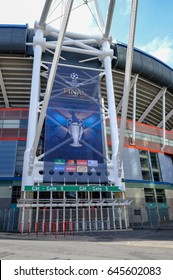 Cardiff, Wales - May 21, 2017: Millennium Football Stadium, Gate 5 with Champions League banner.