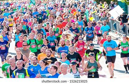 CARDIFF, WALES - OCTOBER 06, 2019: Unidentified runners in the cardiff  Marathon - Athletes running in 39. cardiff marathon Winner Men: Leonard Langat Kenya (00:59:30) - Winner Woman:Lucy Cheruiyot