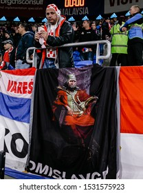 CARDIFF, WALES - OCTOBER 13: Croatian Fan grabbing a snack prior to the UEFA Euro 2020 qualifier between Wales and Croatia at Cardiff City Stadium on October 13, 2019 in Cardiff, Wales.
