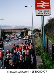 CARDIFF, WALES - OCTOBER 13: Welsh fans make their way through Cardiff prior to the UEFA Euro 2020 qualifier between Wales and Croatia at Cardiff City Stadium on October 13, 2019 in Cardiff, Wales.
