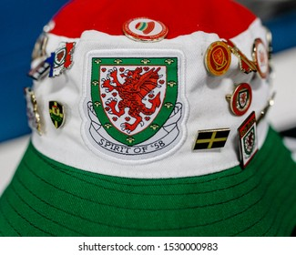 CARDIFF, WALES - OCTOBER 13: A Welsh fans bucket hat during the UEFA Euro 2020 qualifier between Wales and Croatia at Cardiff City Stadium on October 13, 2019 in Cardiff, Wales.