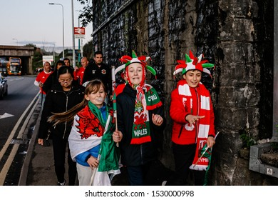 CARDIFF, WALES - OCTOBER 13: Welsh Fans on their way to the UEFA Euro 2020 qualifier between Wales and Croatia at Cardiff City Stadium on October 13, 2019 in Cardiff, Wales.