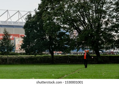 CARDIFF, WALES - OCTOBER 13: Welsh Fan playing football prior the UEFA Euro 2020 qualifier between Wales and Croatia at Cardiff City Stadium on October 13, 2019 in Cardiff, Wales.