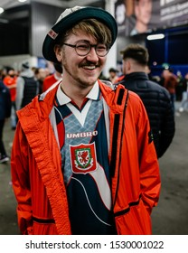 CARDIFF, WALES - OCTOBER 13: Welsh Fans during the UEFA Euro 2020 qualifier between Wales and Croatia at Cardiff City Stadium on October 13, 2019 in Cardiff, Wales.