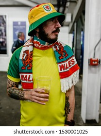 CARDIFF, WALES - OCTOBER 13: Welsh Fan in matching bucket hat and yellow top during the UEFA Euro 2020 qualifier between Wales and Croatia at Cardiff City Stadium on October 13, 2019 in Cardiff, Wales