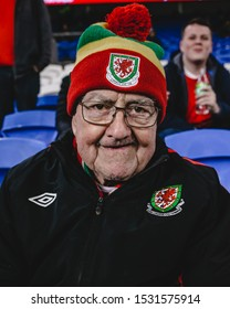 CARDIFF, WALES - OCTOBER 13: Welsh Fan watches the warm ups prior to the UEFA Euro 2020 qualifier between Wales and Croatia at Cardiff City Stadium on October 13, 2019 in Cardiff, Wales.