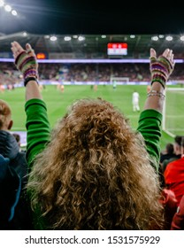 CARDIFF, WALES - OCTOBER 13: Welsh Fan with hands in the air during the UEFA Euro 2020 qualifier between Wales and Croatia at Cardiff City Stadium on October 13, 2019 in Cardiff, Wales.