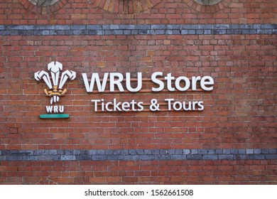 CARDIFF, WALES - OCTOBER 6, 2019: WRU Store sign on wall outside Principality Stadium in Cardiff, Wales