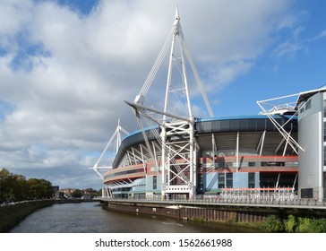 CARDIFF, WALES - OCTOBER 6, 2019: View of Principality Stadium with River Taff in Cardiff, Wales