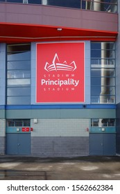 CARDIFF, WALES - OCTOBER 6, 2019: Stadium sign at Principality Stadium in Cardiff, Wales