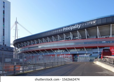 CARDIFF, WALES - OCTOBER 6, 2019: Exterior view of Principality Stadium in Cardiff, Wales