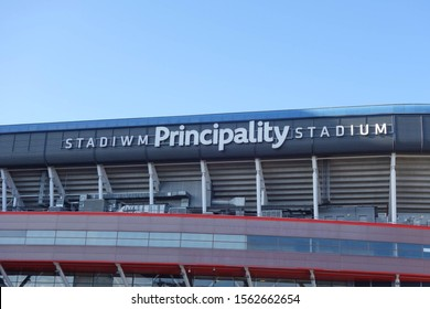 CARDIFF, WALES - OCTOBER 6, 2019: Stadium name sign at Principality Stadium in Cardiff, Wales