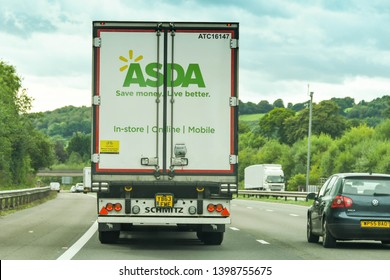 CARDIFF, WALES - SEPTEMBER 2018: Rear of a delivery lorry for ASDA on the M4 motorway near Cardiff