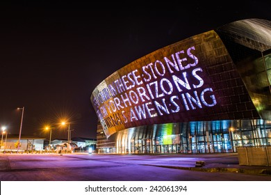 CARDIFF, WALES - SEPTEMBER 29: Wales Millennium Centre Cardiff opened in 2004. September 29, 2014. Designed by architects, Percy Thomas.