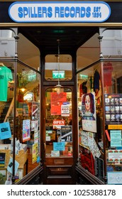 Cardiff, Wales UK 02/13/2018: Spillers Records Morgan Arcade
