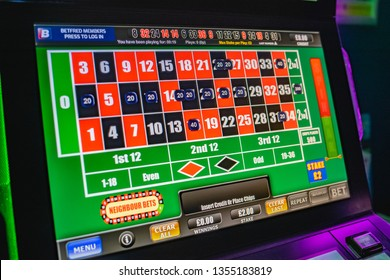 cardiff, wales uk, April 1st 2019 - Bookmakers fixed odds betting terminal fobt stake reduction law in motion