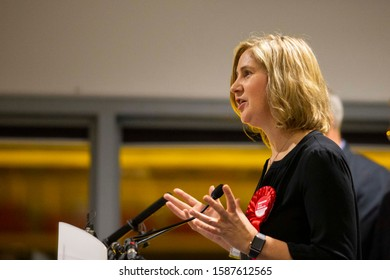 Cardiff, Wales, UK. December 13th 2019. Anna McMorrin of Labour is declared the minister of parliament for Cardiff North after the general election vote count at Cardiff City Stadium.