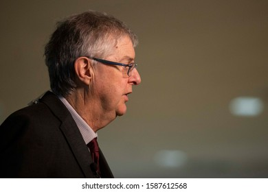 Cardiff, Wales, UK. December 13th 2019. First Minister for Wales Mark Drakeford gives an interview during the general election vote count at Cardiff City Stadium.