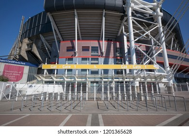 Cardiff, Wales / UK - July 22 2018: Closed gated entrance from Millennium Walk to Gate 1 of of Millennium Stadium / Principality Stadium