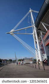 Cardiff, Wales / UK - July 22 2018: Cable-stayed truss mast on west side of Millennium Stadium / Principality Stadium above Millennium Walk