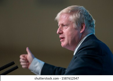 Cardiff, Wales, UK. July 6th 2019. Boris Johnson during the Wales hustings of the Conservative party leadership election at the All Nations Centre.
