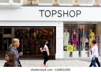 Cardiff, Wales, UK, May 27, 2018: Topshop entrance to their store in Cardiff High Street